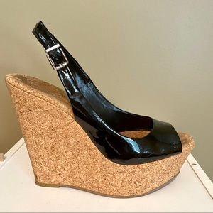 Jessica Simpson Blk Patent Slingback Wedge Heels